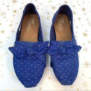 Toms | Blue Chambray Dot Bow Classic Flat Size 9